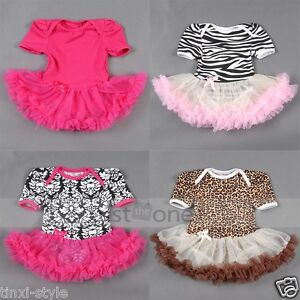 Cute-Baby-Toddler-Girl-Ruffles-Tutu-skirt-Damask-Zebra-Romper-Outfit-Dress-0-12M