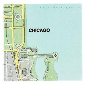 Design Ideas CHICAGO IL Mapkins set 20 Cocktail Napkins 5 X 5 size Map