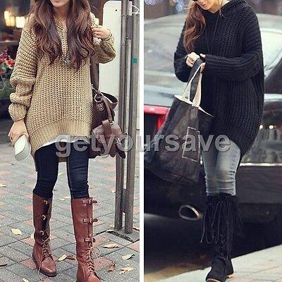 New Korean Style Fashion Outerwear Women Loose Long Irregular Hem Hooded Sweater