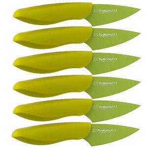 Set-of-6-Kershaw-Kai-Pure-Komachi-2-Paring-Knife-w-Sheath-Green-Md-AB5068