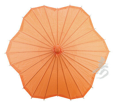 "32"" ORANGE Scalloped Shaped Paper Parasol - handmade bamboo rice paper umbrella"