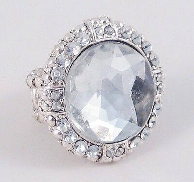 One New Stretch Ring With Large Clear Center Stone & Many Small Crystals #R1103