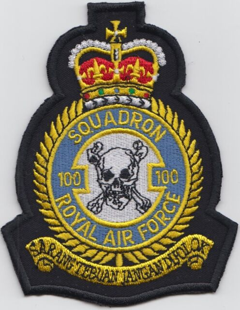 RAF no. 100 Squadron Royal Air Force Embroidered Crest Badge Patch MOD Approved