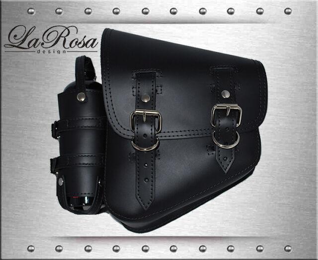 1985-2015 LaRosa Black Leather Harley Softail Rigid Left Saddle Bag + Gas Bottle