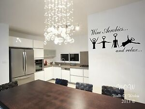 Funny Adult Wine Aerobics Wall Sticker Wall Art Decal Home Decor - Wall decals for kitchen