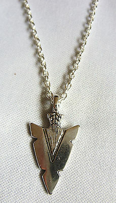 A Native American Style Arrow Head Charm Pendant Chain Necklace Tribal, Surf