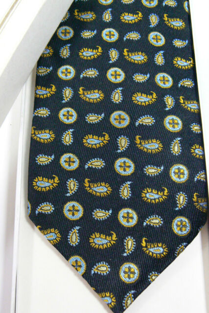MEN'S LUXURY SILK PASCHIMA PAISLEY BLACK NECK TIE W GIFT BOX NEW