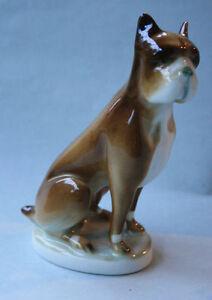 ZSOLNAY-PECS-HUNGARY-Ungarn-Boxer-Hund-Figur-Porzellan-TOP-Porzellanfigur