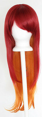 28'' Long Straight Layered Fade Red to Copper Cosplay Wig