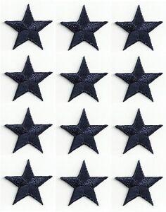 ONE-DOZEN-12-NAVY-BLUE-EMBROIDERED-EDGE-STARS-IRON-ON-PATCHES