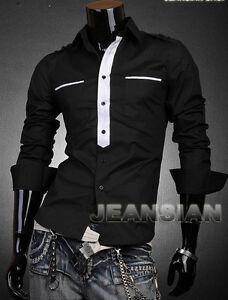 JS Designer Dress Shirts Tops Casual Stylish Slim Fit Men Black ...