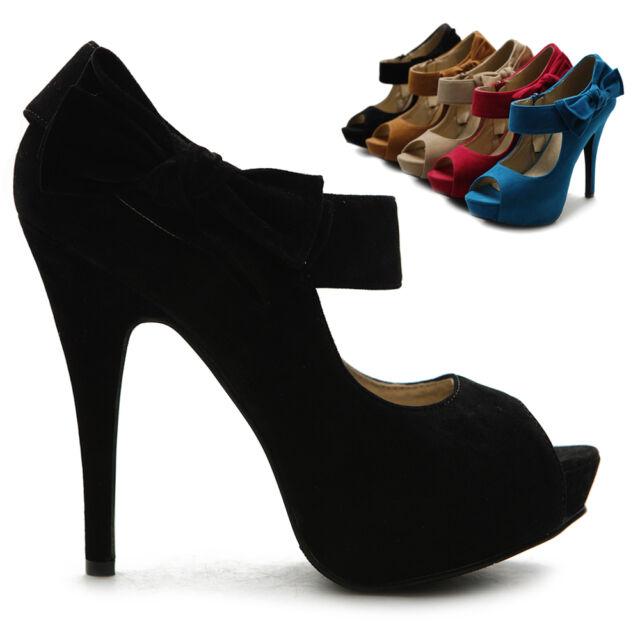 ollio Womens Pumps Platform Open Toe High Heels Ribbon Accent Multi Colored Shoe