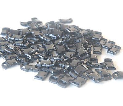 """3/8"""" Black Color Curved Side Release Buckles For Paracord Bracelets DIY New"""