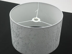 Lamp Shades Silver: Image is loading Hand-Made-8-034-Silver-Grey-Velvet-Lampshade,Lighting