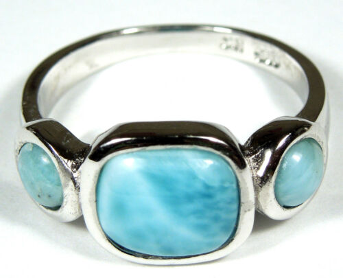 AAA Genuine Dominicaine Larimar Inlay 925 Sterling Silver Ring Taille 6-9