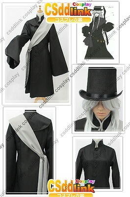 Black Butler Kuroshitsuji Undertaker Cosplay Costume + Hat outfit