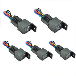 5pack car automotive 12v dc 40a 40 amp spdt relay socket. Black Bedroom Furniture Sets. Home Design Ideas