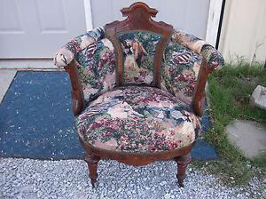 Walnut-Carved-Renaissance-Revival-Parlor-Chair-Armchair-AC109