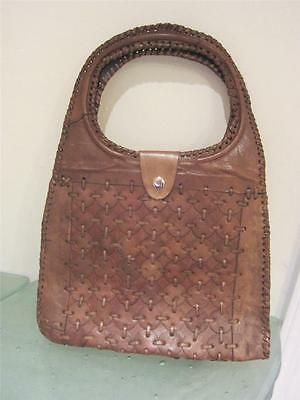 Vintage 1950's Brown  Hand Sewn Leather Handbag Purse Bag Whipstich Western EXC