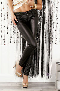 Sexy-Low-Rise-Leather-Look-Skinny-Jeans-Slim-Trousers-Size-6-14