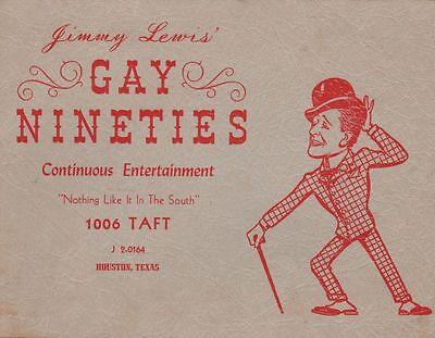 Vintage Souvenir Photo Jimmy Lewis' Gay Nineties Night Club Houston Texas TX