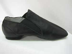 Jazz-Dance-Shoes-with-Bag-Split-Sole-Pull-On-Bootie-Black-Leather-Sizes-New