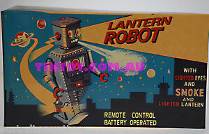 LANTERN-ROBOT-TIN-TOY-REMOTE-CONTROL-BATTERY-OPERATED-SMOKES-POWDER-RARE
