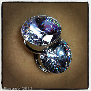 SUPERBLING-BIG-CZ-BLING-SCREW-ON-STAINLESS-STEEL-EAR-GAUGES-PLUGS-SHINY