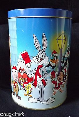 Collectible Tin Canister 1990 Brach's Bugs Bunny & Friends Jellies Christmas