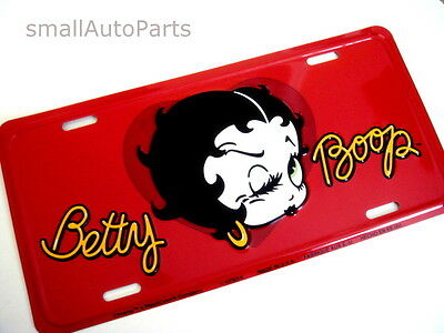 **NEW** BETTY BOOP LICENSE PLATE ALUMINUM METAL STAMPED car/truck/suv red TAG