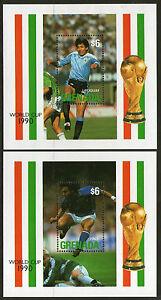 GRENADA FOOTBALL WORLD CUP ITALY 1990 PAIR COMMEMORATIVE MINIATURE SHEETS MNH