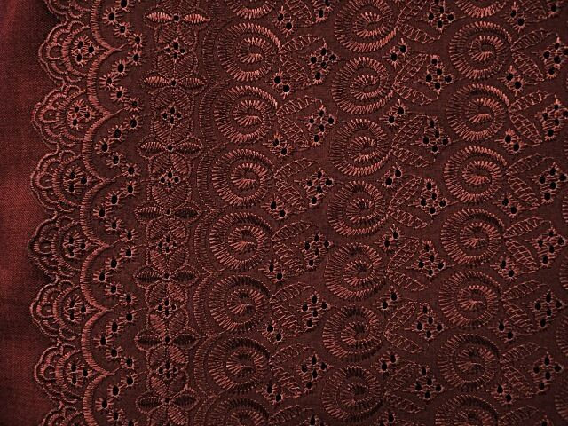 "BROWN ALLOVER COTTON EYELET EMBROIDER  FABRIC 44"" WIDE 1 YARD"