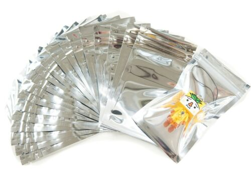 Wholesale Lot of 95 Silver tone Ziplock Packaging Wrapping Gift Bags Pouches