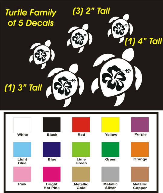 BC-21 TURTLE FAMILY OF 5 CAR STICKERS TRUCK DECALS