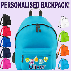 Personalised-School-Bag-for-Boy-Girl-Kid-039-s-Name-amp-Design-on-Backpack-Rucksack