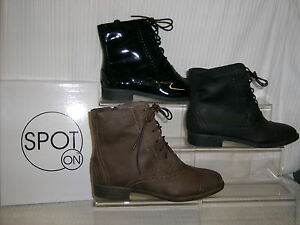 SALE-Spot-On-ladies-zip-lace-ankle-boot-Brogue-Black-Pat-PU-OR-Brown-F5817