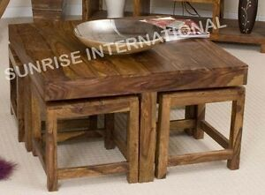 Image Is Loading Sheesham Wood Wooden Coffee Table With 4 Stools