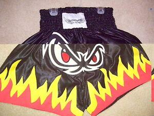 """Muay Thai shorts'' EyeBalls on Fire in Black - American SIZE LARGE"