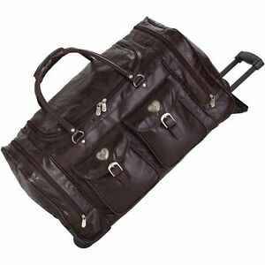 Brown 24 leather rolling luggage bag women carry on overnight duffle suitcase ebay for Leather luggage wheeled duffel
