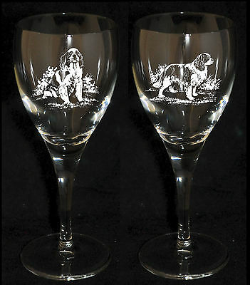 CAVALIER KING CHARLES SPANIEL GIFT - Boxed PAIR WINE GLASS *DOG GIFT*