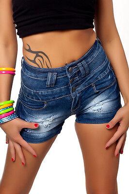 Hot Pants Jeansshorts hoher Bund Corsagen 34 36 38 Jeans Hose kurz hoher Bund