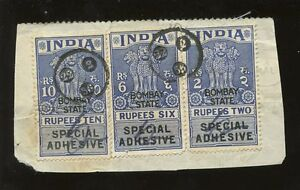 INDIA-1956-REVENUES-10R-6R-2R-FOREIGN-BILL-BOMBAY-STATE-SPECIAL-ADHESIVE-L1