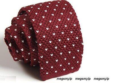 "Men 2"" Knit Knitted Flat Tie Narrow Necktie Red Burgundy Mini White Polka Dot"