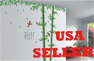 100*96 Inch Huge Large Green Bamboo Tree room Wall Stickers/Decals -USA Selller