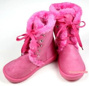 Winter-Snow-Adorable-Casual-Toddler-Girl-Hot-Pink-Suede-Shoes-Boots-Mid-Calf