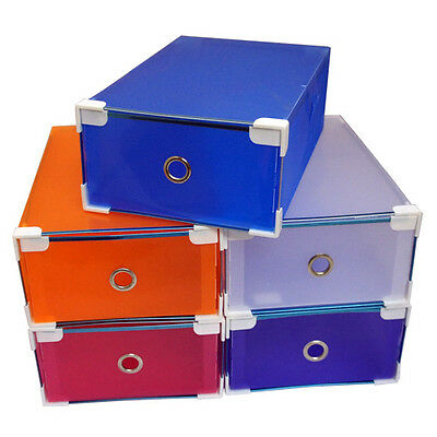 6X Clear Stackable Foldable Shoe Box Container Storage Box