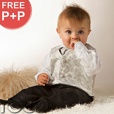Boys Silver 4pc Wedding Pageboy Communion Formal Paisley Waistcoat Suit 3m - 12y