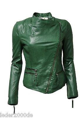 NEU Damen Lederjacke echt Leder aus knautschig weichem Lammnappa in washed Grün