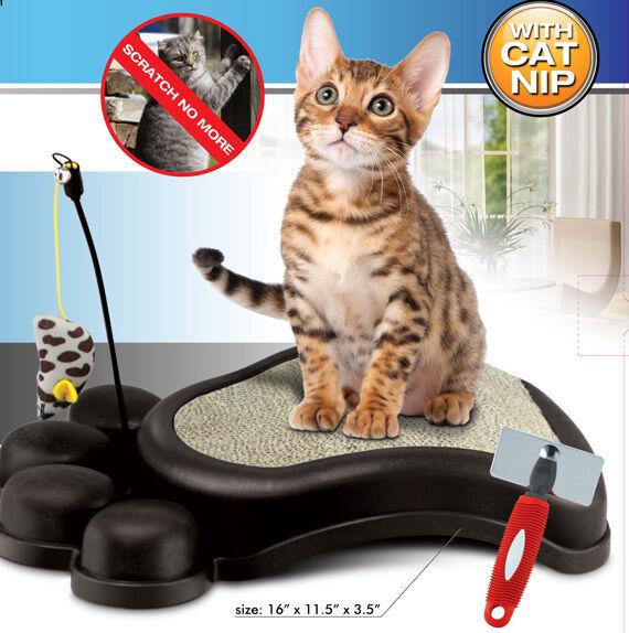 Kitty Scratcher Grooming Fun Pad Cat Kitten Scratch Nail File Deshedder Tool Toy
