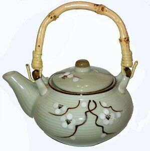 Traditional Chinese Porcelain Teapot with Bamboo Handle
